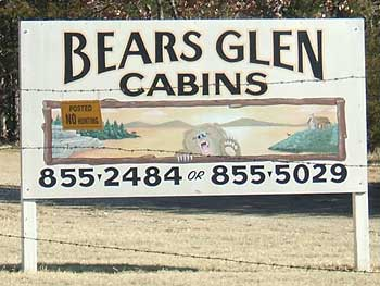 Bear's Glen Cabins Lake Keystone Oklahoma road sign